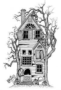 dibujo de casa encantada