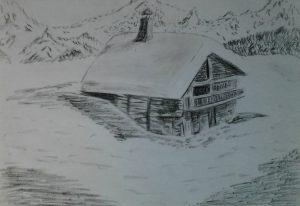 dibujos de montañas con nieve