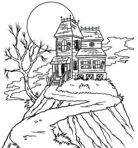 imagenes de casas embrujadas para colorear