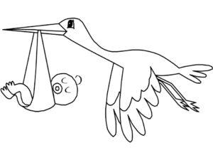 dibujos de cigueñas con bebes