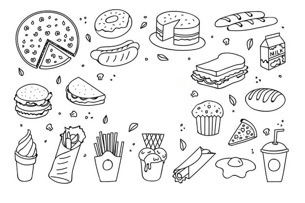 ᐈ Dibujos De Comida Descarga Pinta Tu Platillo Favorito