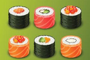 fotos de sushi rolls