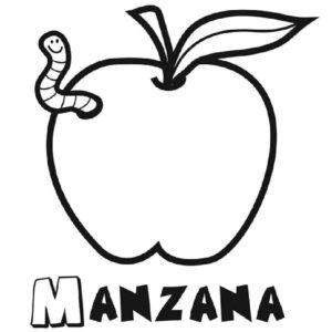 manzana para colorear infantil