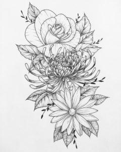 ramo de flores dibujo
