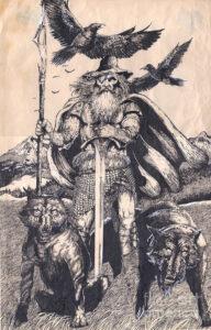 dibujos de cascos de vikingos odin