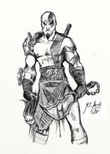 dibujos de kratos a lapiz