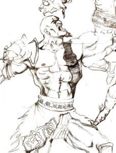 dibujos de kratos faciles