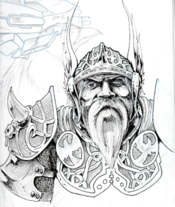 dibujos de vikingos a lápiz odin