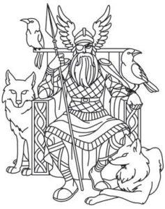 dibujos de vikingos para niños odin
