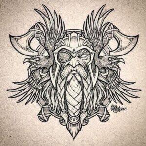 dibujos de vikingos para tatuajes odin