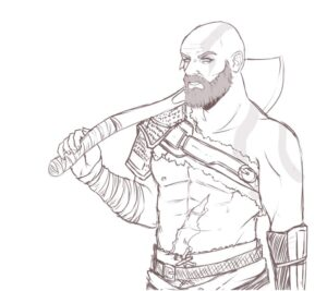 kratos en dibujo